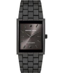 geoffrey beene rectangular case genuine black diamond dial bracelet watch