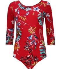 body mujer estampado floral color rojo, talla 6