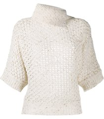 peserico open-knit metallic top - neutrals