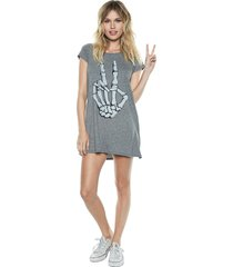 lana skeleton peace s/s mini t-shirt dress - s heather grey