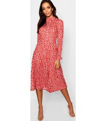 dalmatiërprint midi jurk met lange mouwen en hoge hals, rood