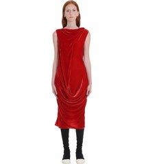rick owens slash neck dress in red velvet