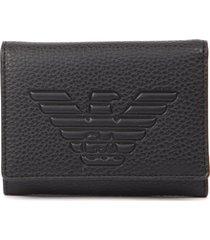 emporio armani embossed logo black faux leather wallet