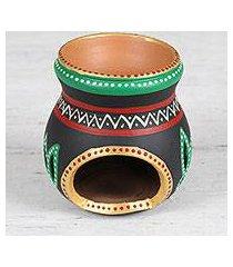 ceramic oil warmer, 'lotus fascination' (india)