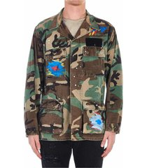 painted jacket with camouflage print