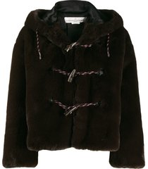 golden goose faux fur hooded duffle coat - brown