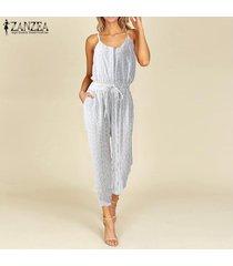 zanzea mujeres con tiras botones mono ocasional de la raya de los pantalones general mameluco largo playsuit -blanco