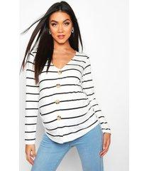 maternity button front stripe top, cream