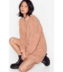 womens this isn't over faux shearling sweater dress - dusky pink