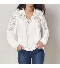 zanzea camisa con botones mujer cuello en v manga larga tops encaje patchwork corbata blusa off white -blanco