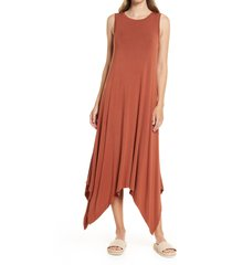 women's nordstrom drapey sleeveless midi dress, size xx-small - brown