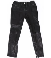 balmain leather cropped skinny pants black sz: xs