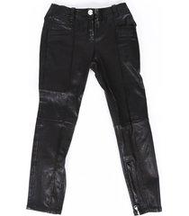 balmain leather cropped skinny pants