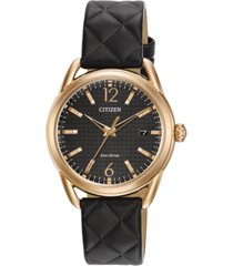 citizen drive from citizen eco-drive women's black quilted leather strap watch 34mm fe6083-13e