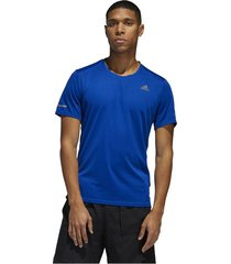 camiseta azul adidas run it tee m