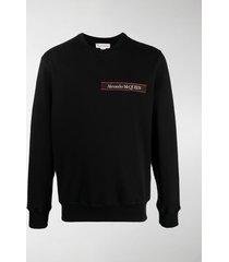 alexander mcqueen selvedge logo-tape crew neck sweatshirt