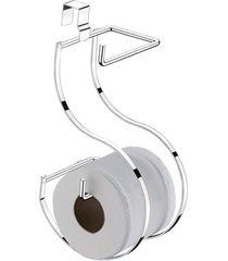 suporte para papel higiênico para caixa acoplada 26,5x12,5x15cm cromado