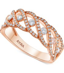 diamond braided statement ring (5/8 ct. t.w.) in 14k rose gold