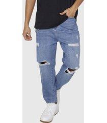 jeans relaxed roturas azul medio - hombre corona