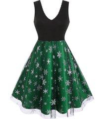 plus size christmas snowflake mesh flare dress