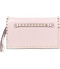 valentino rockstud leather wristlet clutch bag brown sz: m