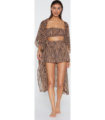 womens it's not all black and white zebra kimono top and shorts - tan