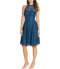 women's eliza j halter neck lace fit and flare dress, size 4 - blue/green
