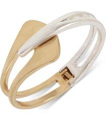 robert lee morris soho two-tone sculptural bypass bangle bracelet