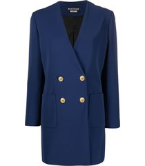 boutique moschino longline double-breasted blazer - blue