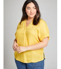 lane bryant women's mixed-media popover top 18/20 mimosa