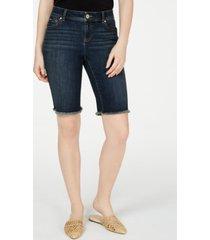 i.n.c frayed-hem denim bermuda shorts in curvy, created for macy's