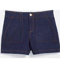 loft petite high waist patch pocket denim shorts in rinse wash