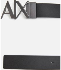 armani exchange men's ax buckle belt - black phantom - w36