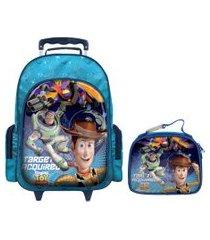 mochila com rodinhas toy story com lancheira azul