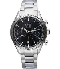 orologio cronografo cinturino e cassa in acciaio silver, quadrante nero per uomo