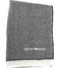 emporio armani wool blend scarf with emporio armani logo