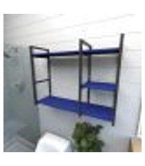 prateleira industrial para banheiro aço preto prateleiras 30cm azul escuro modelo ind16azb