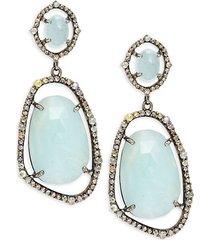 black rhodium-plated sterling silver, aquamarine & diamond drop earrings