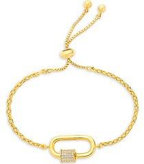 goldplated & cubic zirconia carabiner bolo bracelet