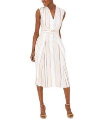 calvin klein belted surplice striped dress
