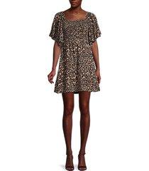 baum und pferdgarten women's atena smocked leopard a-line dress - leopard - size 36 (6)