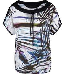 marccain sports - js 5502 w19 - blouse shirt print blauw tinten