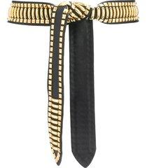 alberta ferretti studded tied waist belt - black
