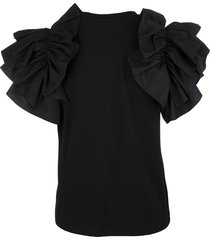 alexander mcqueen black t-shirt with bow sleeves