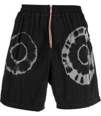 aries black tie-dye print shorts