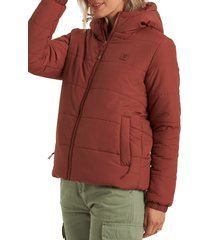women's billabong transport hooded water repellent puffer jacket, size large - red