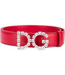 dolce & gabbana dg leather belt - pink