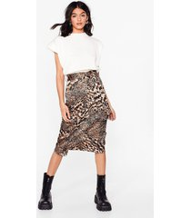 womens bold moves animal belted midi skirt - brown