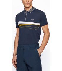boss men's slim-fit chest-print polo