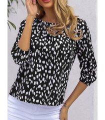 camicetta donna con scollo a o con maniche a 3/4 lunghezza holiday irregular dot print